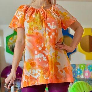 Vintage 70s Hawaiian keyhole tunic blouse S-M-L